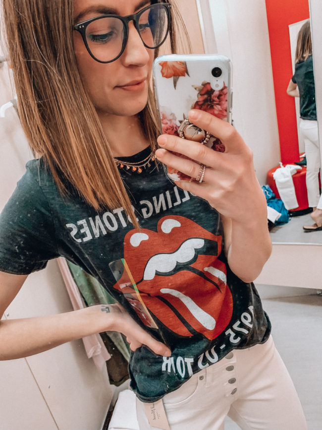 Black Rolling Stones tee shirt | Casual spring and summer style, spring and summer outfits | Kansas City life, home, and style blogger Megan Wilson shares a Target try-on | March | Life on Shady Lane // @shadylaneblog on IG
