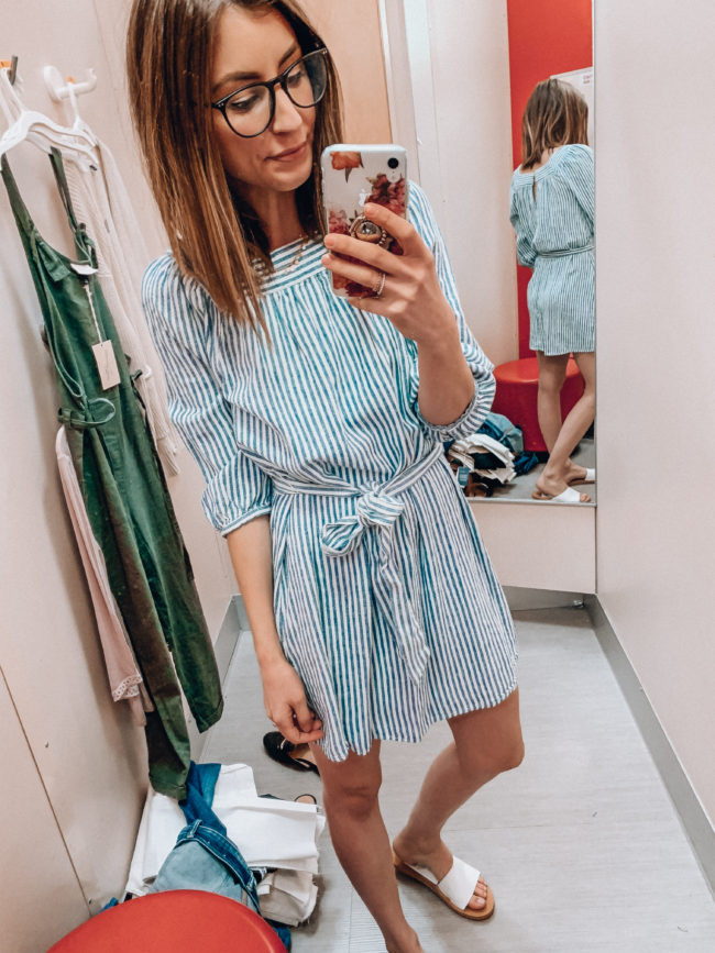 Striped spring and summer dress | Casual spring and summer style, spring and summer outfits | Kansas City life, home, and style blogger Megan Wilson shares a Target try-on | March | Life on Shady Lane // @shadylaneblog on IG