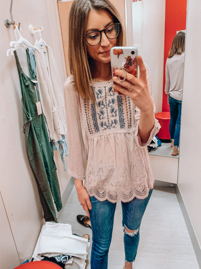 Pretty spring and summer blouse | Casual spring and summer style, spring and summer outfits | Kansas City life, home, and style blogger Megan Wilson shares a Target try-on | March | Life on Shady Lane // @shadylaneblog on IG