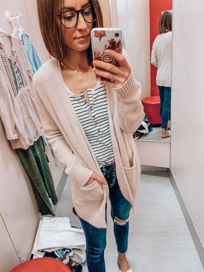 Cream cardigan outfit | Casual spring and summer style, spring and summer outfits | Kansas City life, home, and style blogger Megan Wilson shares a Target try-on | March | Life on Shady Lane // @shadylaneblog on IG