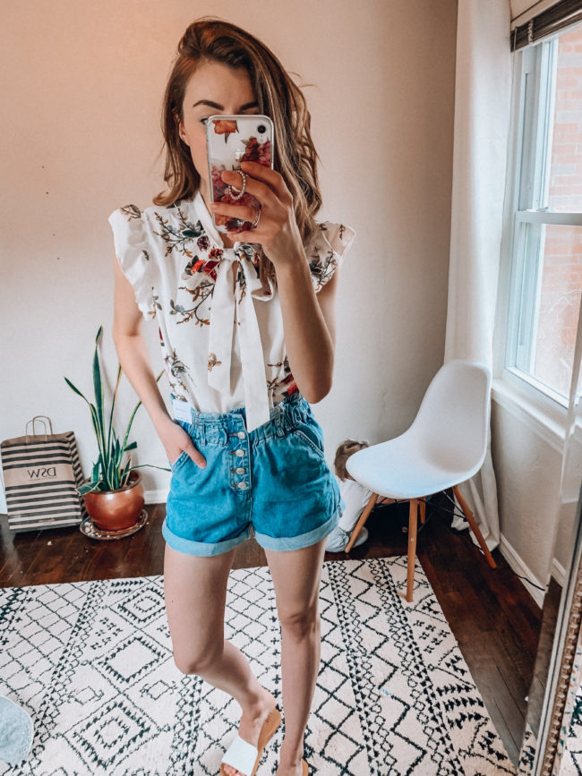 Spring and summer flutter sleeve blouse from AMAZON! | Cute outfit for the office | Paperbag waist denim high waist shorts | Casual spring and summer fashion. Kansas City life, home, and style blogger Megan Wilson shares her Amazon Finds - March | Week 2 - Affordable cute style that's fun and won't break the bank! #amazon #amazonfashion #amazonclothes #amazonfinds