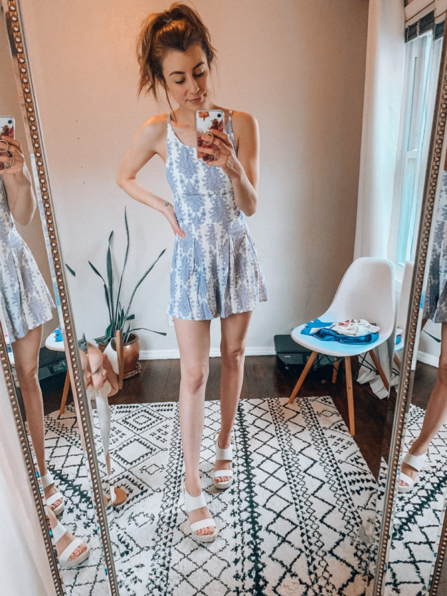 Spring and summer romper from AMAZON! | Casual spring and summer fashion. Kansas City life, home, and style blogger Megan Wilson shares her Amazon Finds - March | Week 2 - Affordable cute style that's fun and won't break the bank! #amazon #amazonfashion #amazonclothes #amazonfinds