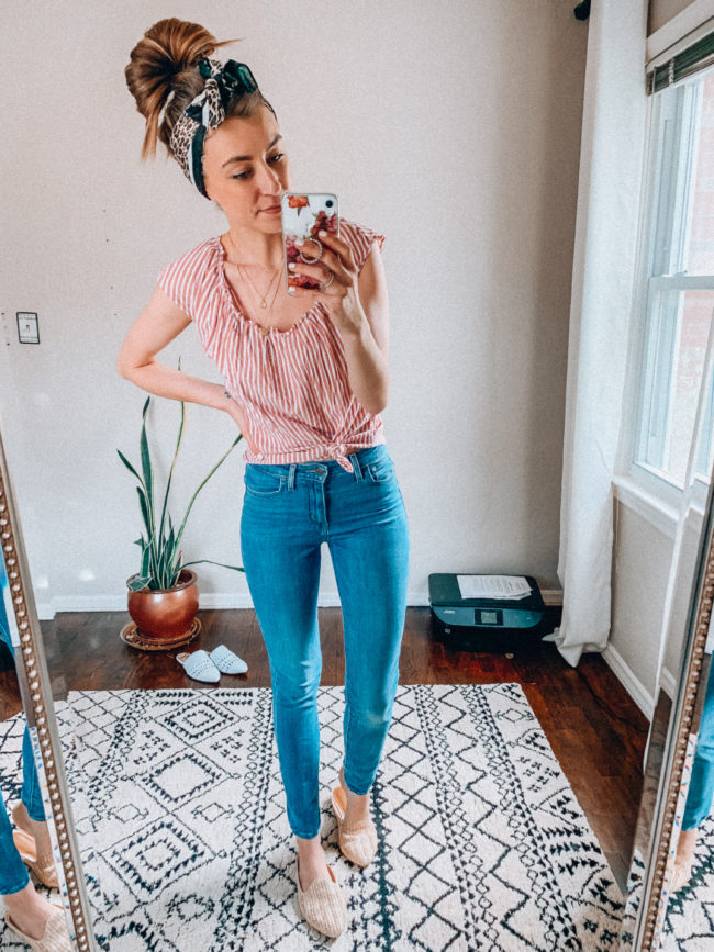 Levi's jeans and a pink knotted top - a basic, casual outfit! | Tan woven mules and jeans outfit | Casual everyday spring and summer fashion. Kansas City life, home, and style blogger Megan Wilson shares her Amazon Finds - April | Affordable cute style that's fun and won't break the bank! #amazon #amazonfashion #amazonclothes #amazonfinds
