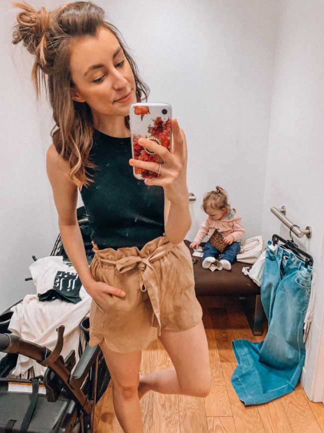 Black tank and tan linen shorts | Casual spring and summer style, spring and summer outfits | Kansas City life, home, and style blogger Megan Wilson shares an Express try-on | Life on Shady Lane // @shadylaneblog on IG