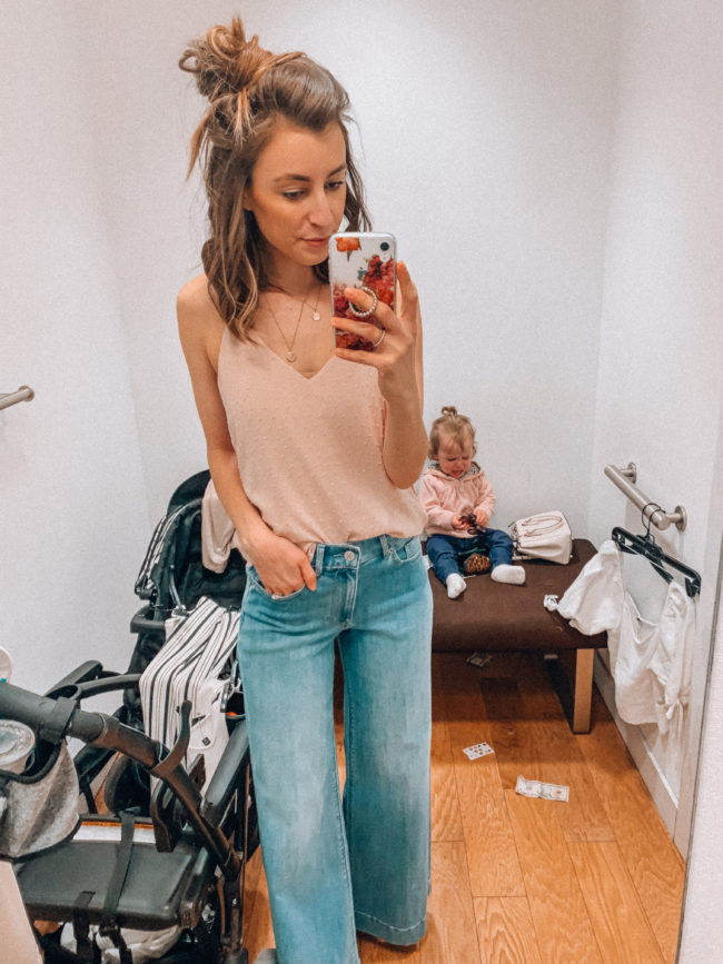 Pink cami and high waist wide leg denim jeans | Casual spring and summer style, spring and summer outfits | Kansas City life, home, and style blogger Megan Wilson shares an Express try-on | Life on Shady Lane // @shadylaneblog on IG