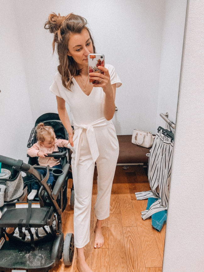 White jumpsuit | spring and summer style, spring and summer outfits | Kansas City life, home, and style blogger Megan Wilson shares an Express try-on | Life on Shady Lane // @shadylaneblog on IG