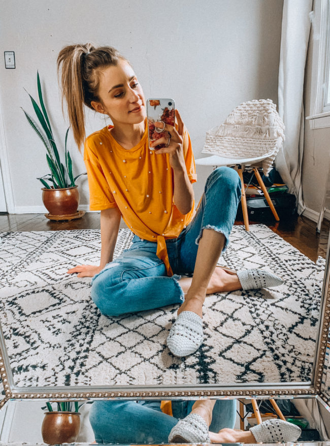 Yellow top and distressed jeans // white woven mules outfit | Casual everyday spring and summer fashion. Kansas City life, home, and style blogger Megan Wilson shares her Amazon Finds - April | Affordable cute style that's fun and won't break the bank! #amazon #amazonfashion #amazonclothes #amazonfinds