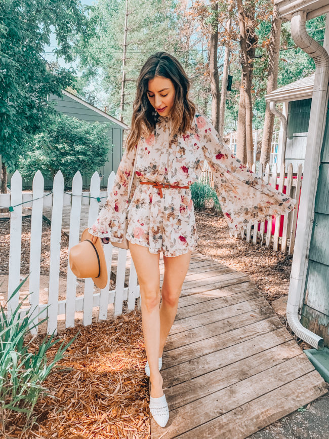 Floral ruffled romper | spring and summer fashion. Kansas City life, home, and style blogger Megan Wilson shares her Amazon Finds - May | Affordable cute style that's fun and won't break the bank! #amazon #amazonfashion #amazonclothes #amazonfinds
