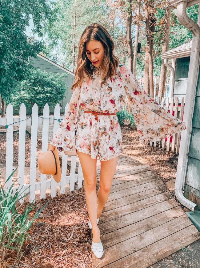 Floral ruffled romper || Casual spring and summer style || What to do in Independence, Missouri - A guide to all the fun stuff! | Kansas City life, home, and style Blogger Megan Wilson shares a staycation trip to Independence, Missouri! #lovethesquare #staycation #visitmissouri