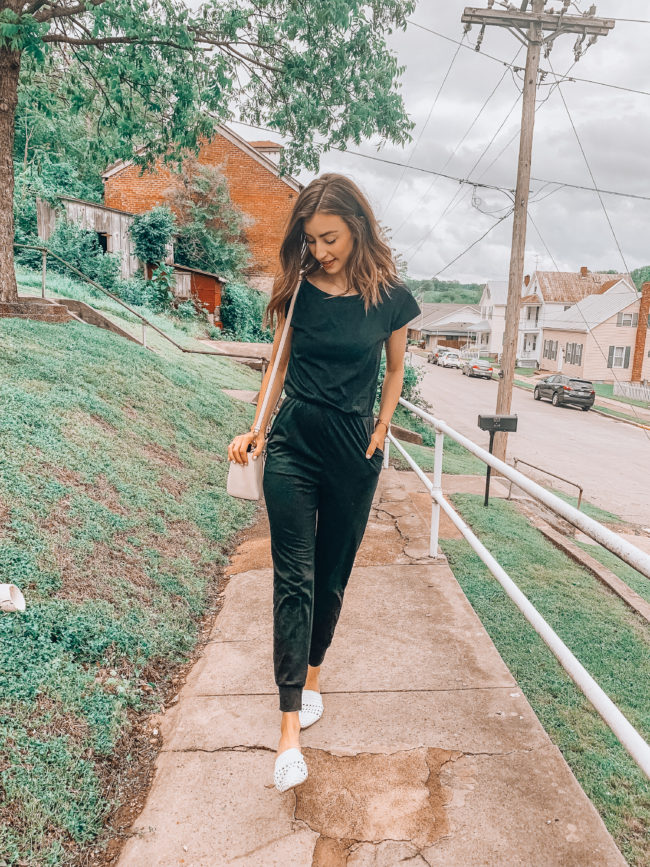 Black off the shoulder jumpsuit | affordable casual fashion || Kansas City life, home, and style blogger Megan Wilson shares her Amazon Finds - May | Affordable cute style that's fun and won't break the bank! #amazon #amazonfashion #amazonclothes #amazonfinds