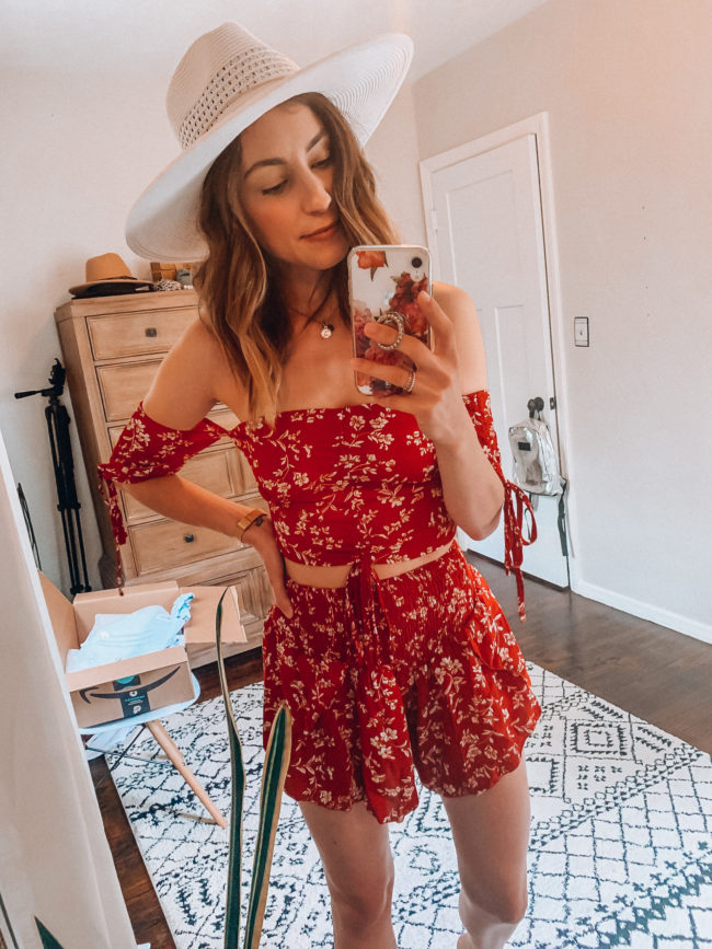 Red two piece set // Shorts and a cropped top | affordable casual summer fashion || Kansas City life, home, and style blogger Megan Wilson shares her Amazon Finds - June | Affordable cute style that's fun and won't break the bank! #amazon #amazonfashion #amazonclothes #amazonfinds