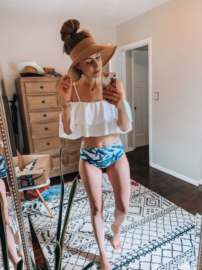 white off-the shoulder bikini | affordable casual summer fashion || Kansas City life, home, and style blogger Megan Wilson shares her Amazon Finds - June | Affordable cute style that's fun and won't break the bank! #amazon #amazonfashion #amazonclothes #amazonfinds