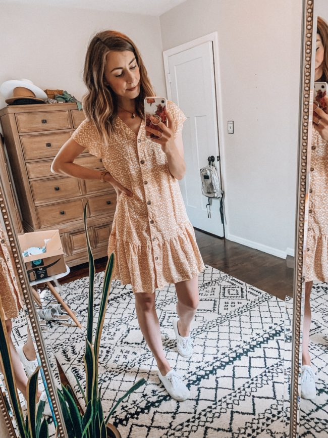 Yellow short dress // Casual dress | affordable casual summer fashion || Kansas City life, home, and style blogger Megan Wilson shares her Amazon Finds - June | Affordable cute style that's fun and won't break the bank! #amazon #amazonfashion #amazonclothes #amazonfinds