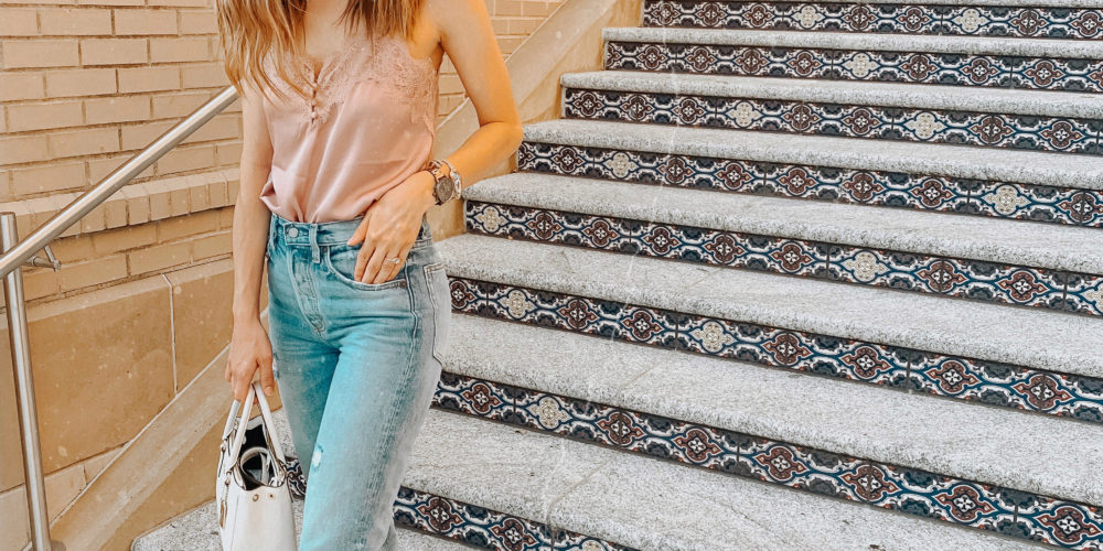 Lace trim cami and jeans || My current favorites from the month of AUGUST || Kansas City life, home, and style blogger Megan Wilson shares some of her favorite beauty products, clothing, etc. from the month of August