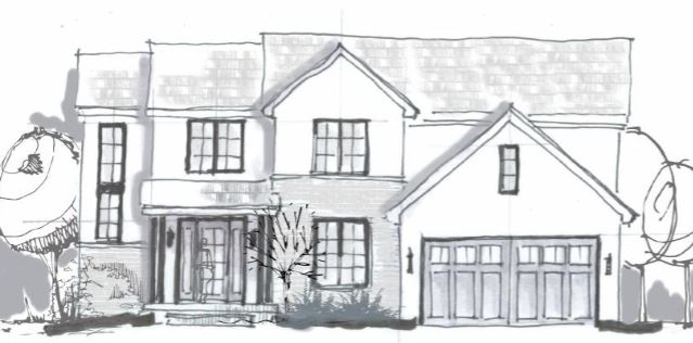 A sneak peek at the drawings for our new home build ! I'm sharing a couple inspiration pictures as well as two different options for the exterior of our home || Kansas City life, home, and style blogger Megan Wilson shares the preliminary exterior elevation drawings for a new home build