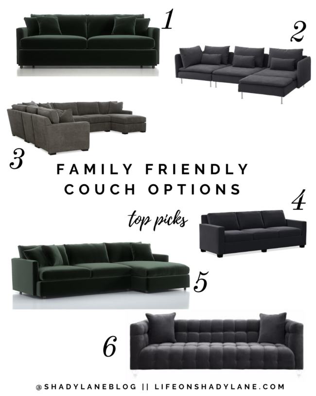 6 of the most family friendly, well-reviewed couches // Kansas City life, home, and style blogger Megan Wilson shares six durable, family-friendly couches that are pretty and also comfortable!