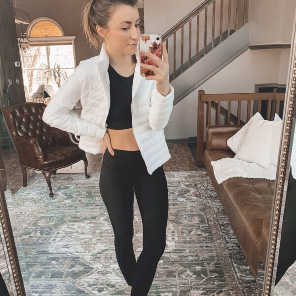 Cute workout clothes (and the perfect jacket to wear over them this winter!) || Kansas City life, home, and style blogger Megan Wilson shares her picks