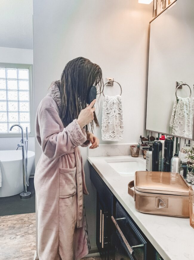 How to get (and maintain) shiny, healthy hair at home - the best products for curled or straight hair || Kansas City life, home, and style blogger Megan Wilson shares her tips