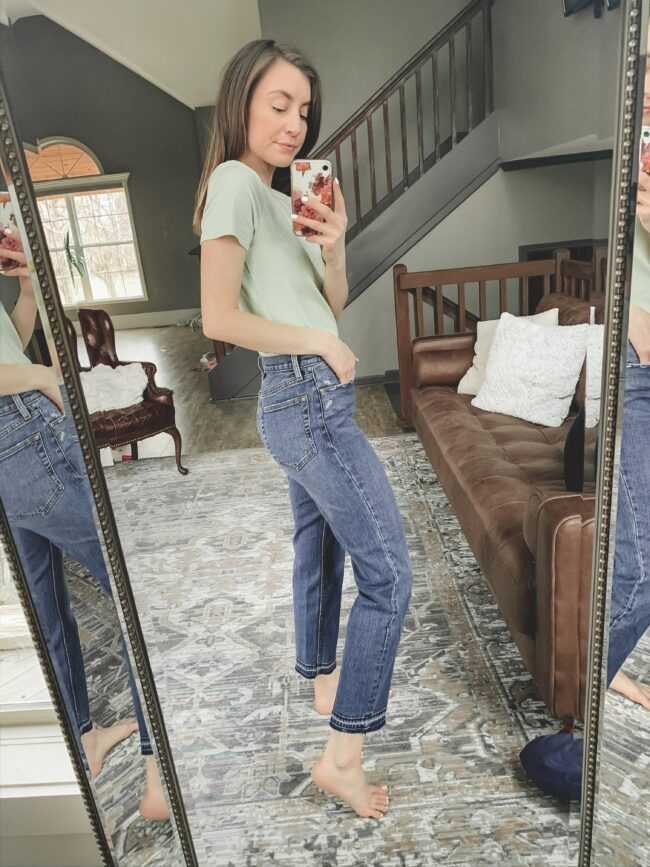 Slim fit tee and straight leg jeans || February Abercrombie try-on || Kansas City life, home, and style blogger shares her casual style picks