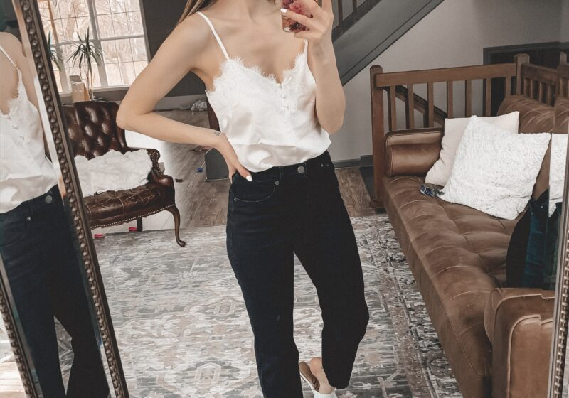 White lace trim cami and black straight leg jeans || February Abercrombie try-on || Kansas City life, home, and style blogger shares her casual style picks