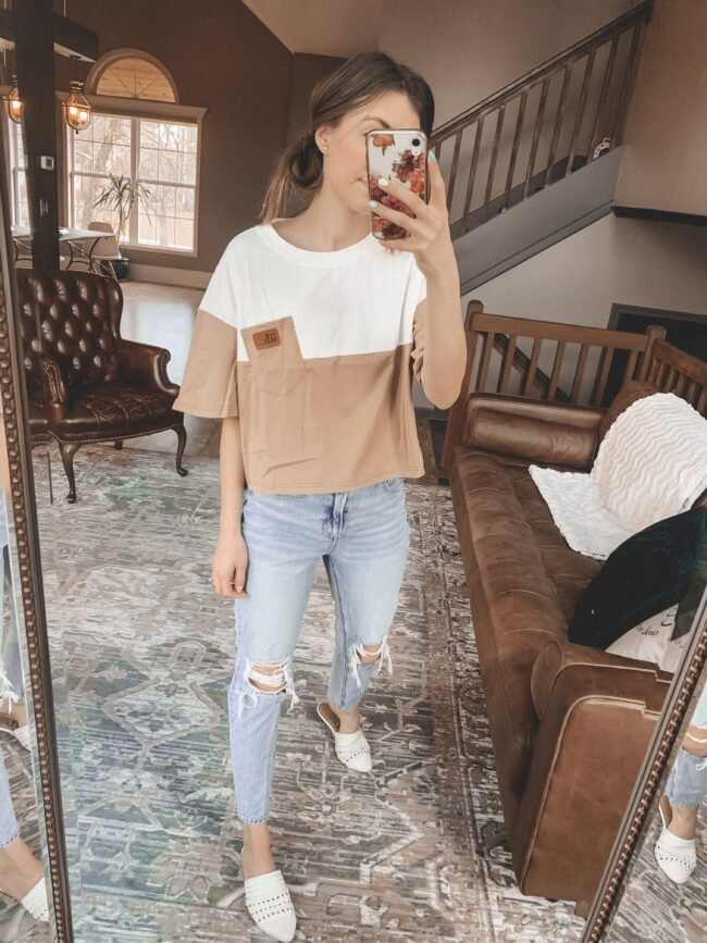 Color blocked tee shirt and distressed denim || Casual style from AMAZON! || Kansas City life, home, and style blogger Megan Wilson shares her February Amazon Finds