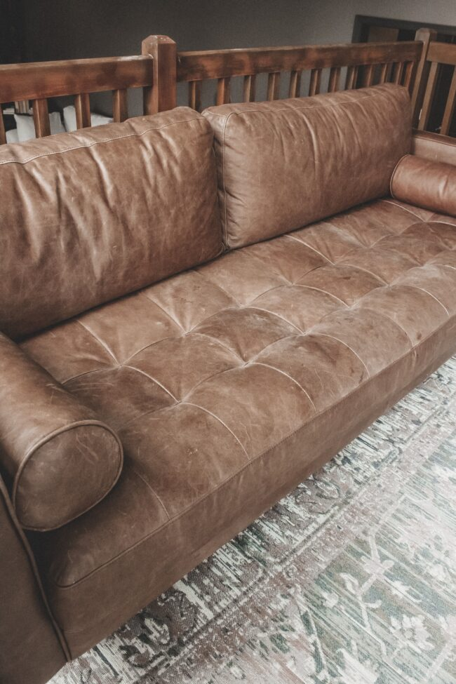 How to condition a leather sofa || The easy way to keep your leather couch feeling soft and looking pretty! || Article Charme Sofa || Kansas City life, home, and style blogger Megan Wilson shares her tips!