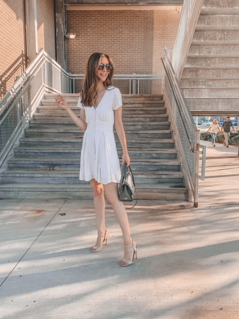 summer dress and heels outfit, long hair | Kansas City life, home, and style blogger Megan Wilson shares her June Instagram Roundup