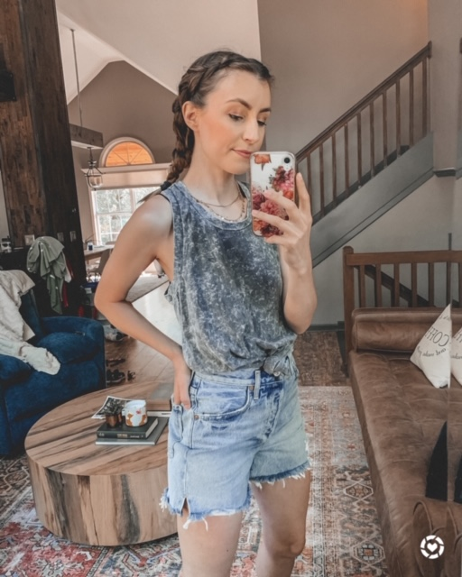 distressed denim shorts and grey tank top., summer outfits, braided hair | Kansas City life, home, and style blogger Megan Wilson shares her June Instagram Roundup