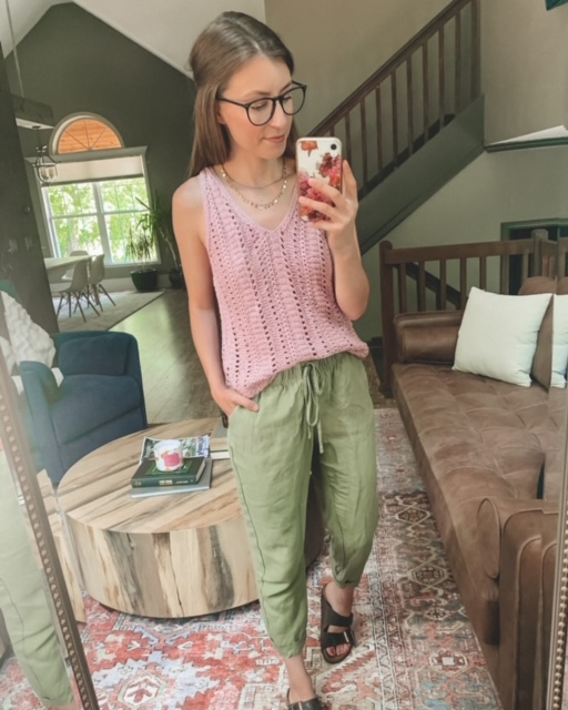 Pink crochet sweater tank top and olive colored pants, summer outfit | Kansas City life, home, and style blogger Megan Wilson shares her June Instagram Roundup