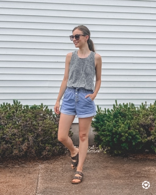 gray tank top from TARGET and high waist shorts | Kansas City life, home, and style blogger Megan Wilson shares her June Instagram Roundup