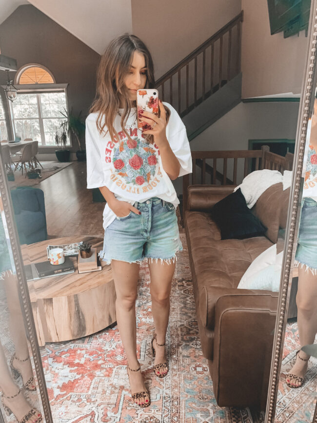Denim shorts and oversized band tee shirt || 6 ways to style denim shorts this summer - they're so versatile and go with everything! Which is your favorite denim shorts outfit? || Kansas City life, home, and style blogger Megan Wilson