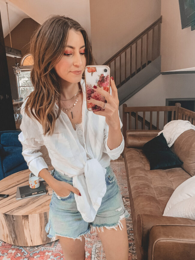 white button up shirt and distressed denim shorts outfit with white sneakers | @shadylaneblog shares the casual summer outfits you may have missed from Instagram in July