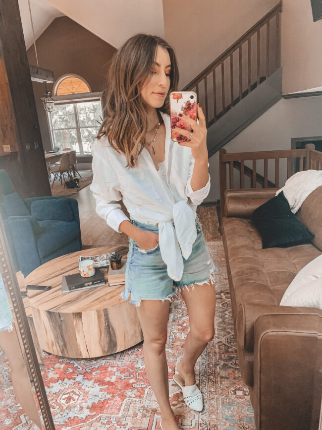 Denim shorts and white button up shirt || 6 ways to style denim shorts this summer - they're so versatile and go with everything! Which is your favorite denim shorts outfit? || Kansas City life, home, and style blogger Megan Wilson