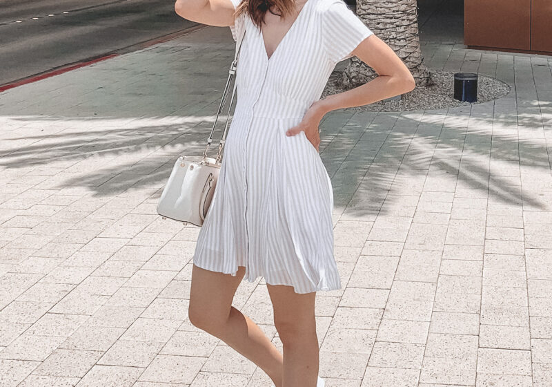 summer dress and white sneakers outfit | Kansas City life, home, and style blogger Megan Wilson shares her June Instagram Roundup