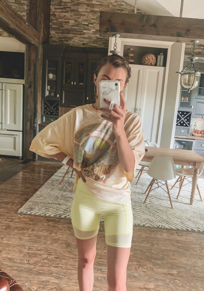 Yellow bike shorts + oversized tee shirt outfit || 5 Bike shorts outfit ideas || I compared 5 different pairs! - I reviewed several pairs of bike shorts to compare and contrast + a Bike shorts outfit or two! How to wear biker shorts || Kansas City blogger