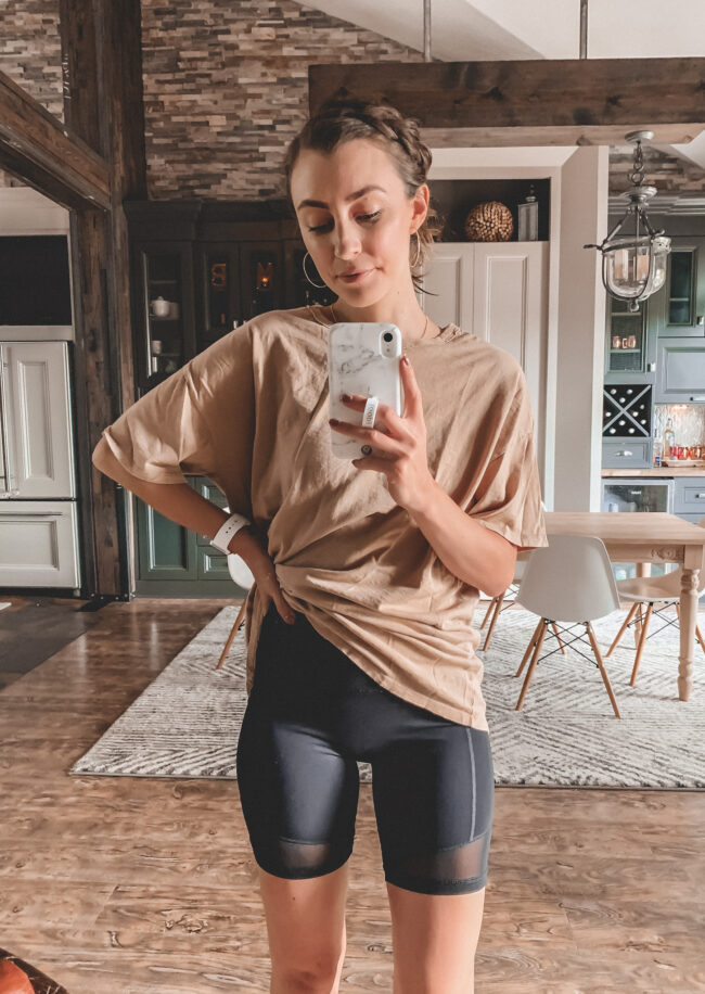 Black mesh bike shorts and tan oversized tee shirt outfit || 5 Bike shorts outfit ideas || I compared 5 different pairs! - I reviewed several pairs of bike shorts to compare and contrast + a Bike shorts outfit or two! How to wear biker shorts || Kansas City blogger