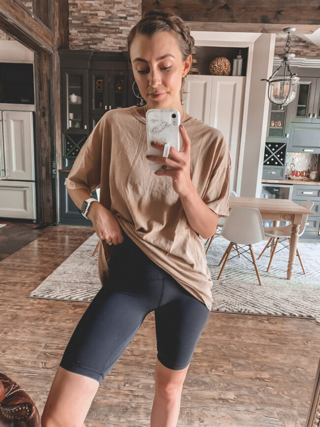 Black bike shorts and tan oversized tee shirt outfit || 5 Bike shorts outfit ideas || I compared 5 different pairs! - I reviewed several pairs of bike shorts to compare and contrast + a Bike shorts outfit or two! How to wear biker shorts || Kansas City blogger