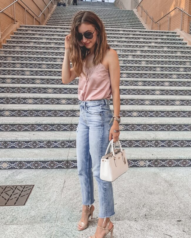 lace trim cami and light colored mom jeans denim, long hair, summer outfits | jeans and heels outfit | Kansas City life, home, and style blogger Megan Wilson shares her June Instagram Roundup