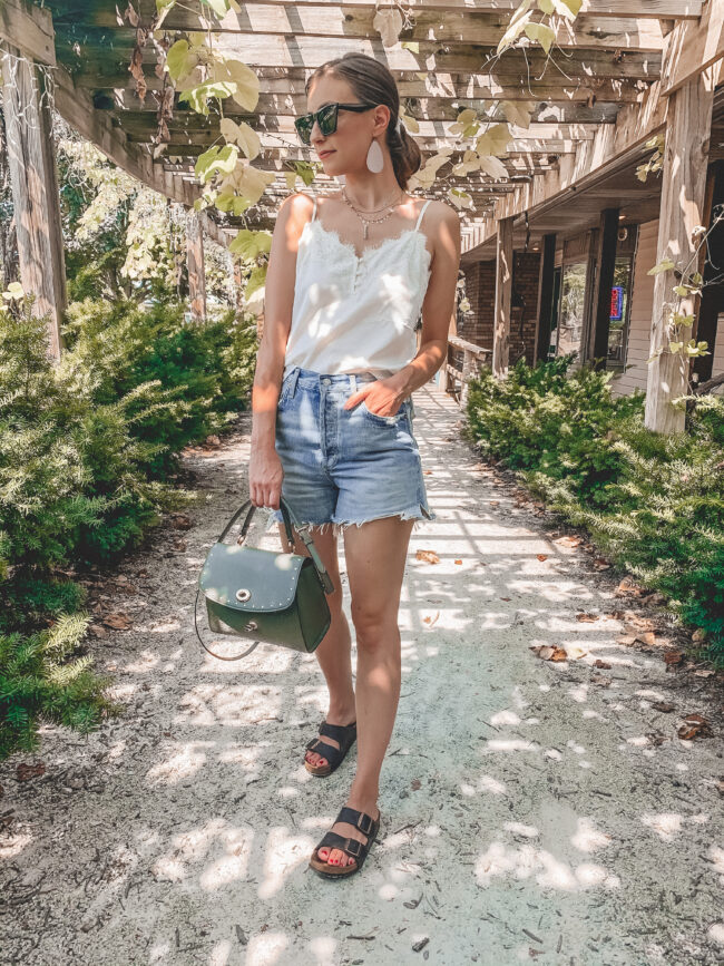 White lace cami and distressed denim shorts outfit with birkenstock sandals, Amazon sunglasses | @shadylaneblog shares the casual summer outfits you may have missed from Instagram in July