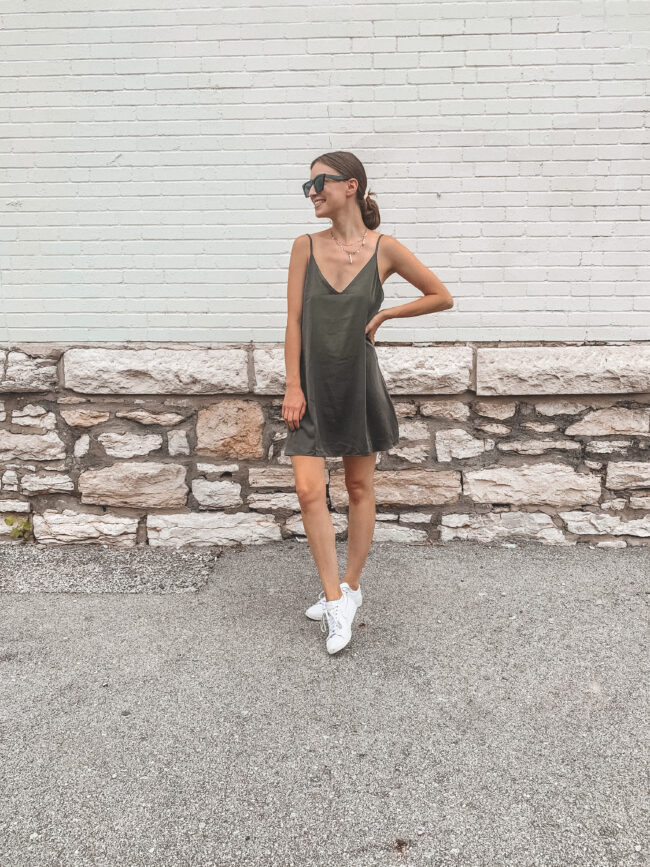 Olive green silk slip dress and white sneakers outfit, Amazon sunglasses | @shadylaneblog shares the casual summer outfits you may have missed from Instagram in July