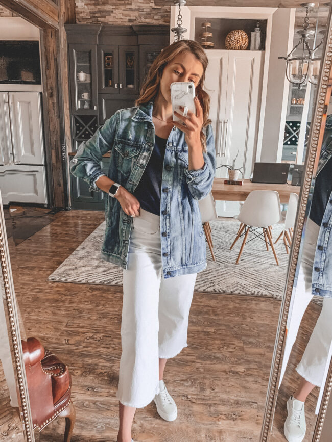 Distressed denim jacket for Fall, white wide leg cropped jeans | @shadylaneblog shares the casual summer outfits you may have missed from Instagram in July