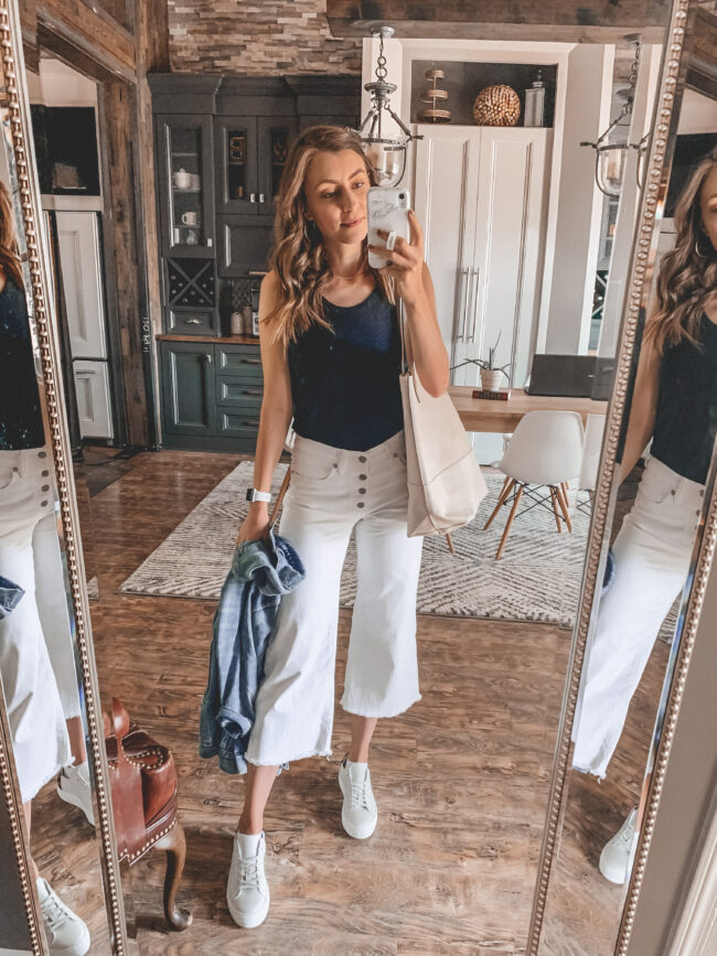 black tank, white wide leg cropped jeans | @shadylaneblog shares the casual summer outfits you may have missed from Instagram in July