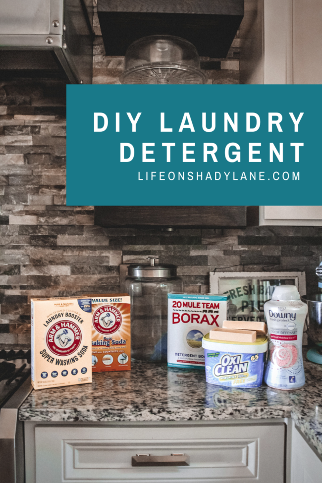 A DIY laundry detergent recipe that's super simple to put together and will save you money (and look pretty on your laundry room shelf!) - here's all you'll need! || Kansas City life, home, and style blogger Megan Wilson shares her DIY laundry detergent recipe!
