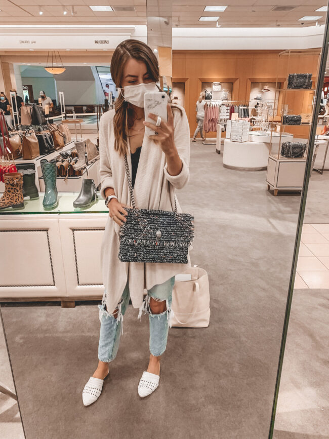 Barefoot dreams cardigan, black cami, jeans, and shoulder bag | Fall outfit |  Nordstrom Anniversary Sale 2020 try-on haul and shopping guide | @shadylaneblog