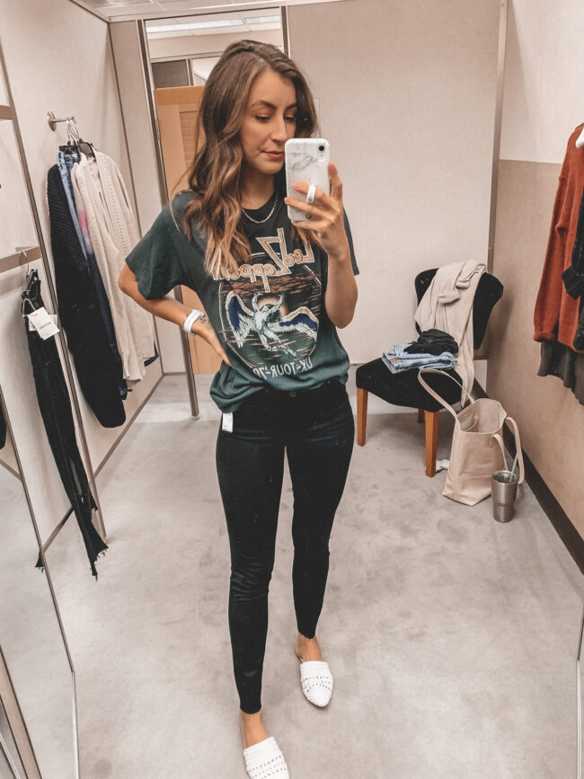 Black band tee and black skinny jeans | Fall outfit |  Nordstrom Anniversary Sale 2020 try-on haul and shopping guide | @shadylaneblog