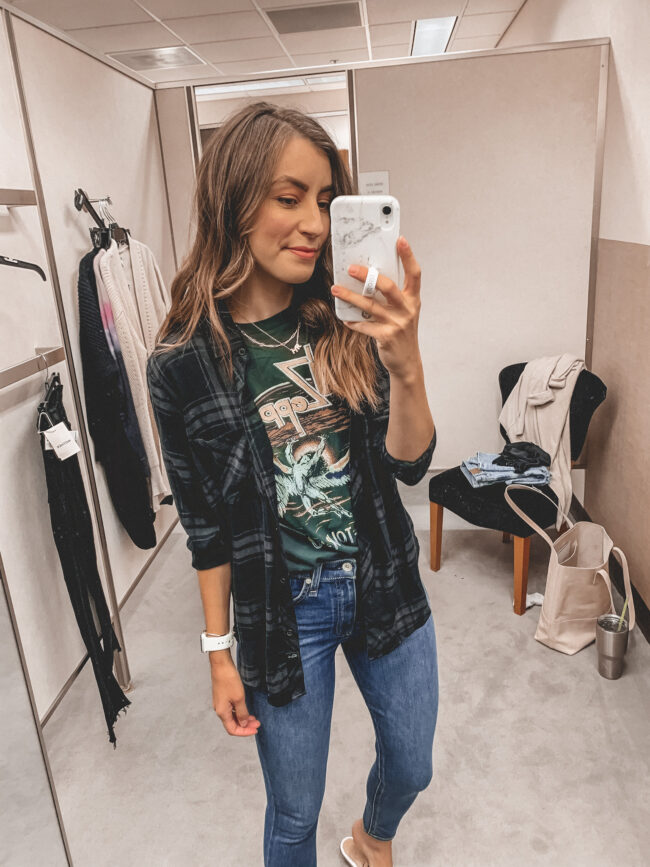 Black band tee, plaid button up, and skinny jeans | Fall outfit |  Nordstrom Anniversary Sale 2020 try-on haul and shopping guide | @shadylaneblog