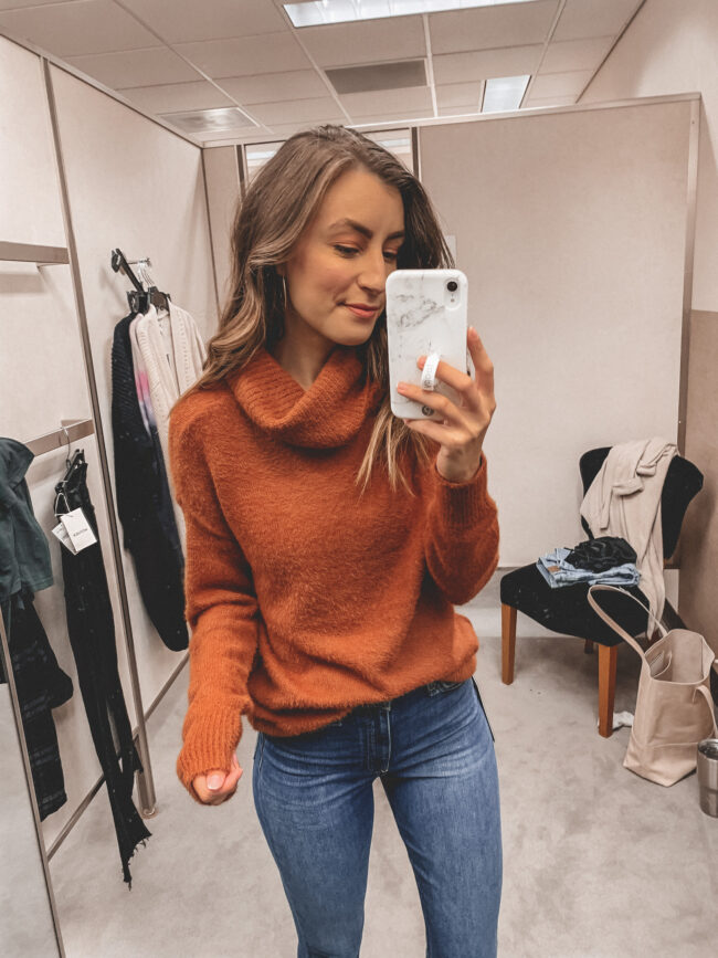 Orange fall sweater and skinny jeans | Fall outfit |  Nordstrom Anniversary Sale 2020 try-on haul and shopping guide | @shadylaneblog
