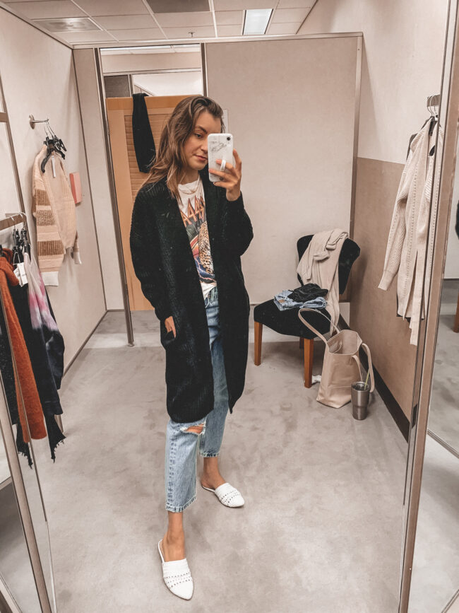 White band tee and black cardigan, jeans | Fall outfit |  Nordstrom Anniversary Sale 2020 try-on haul and shopping guide | @shadylaneblog