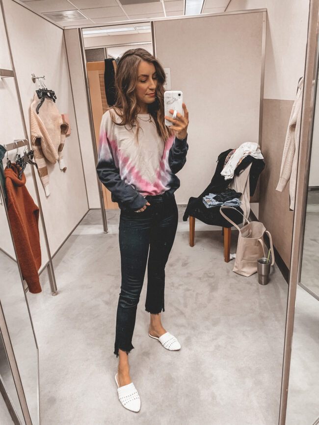 Black jeans and tie dye pullover | Fall outfit |  Nordstrom Anniversary Sale 2020 try-on haul and shopping guide | @shadylaneblog