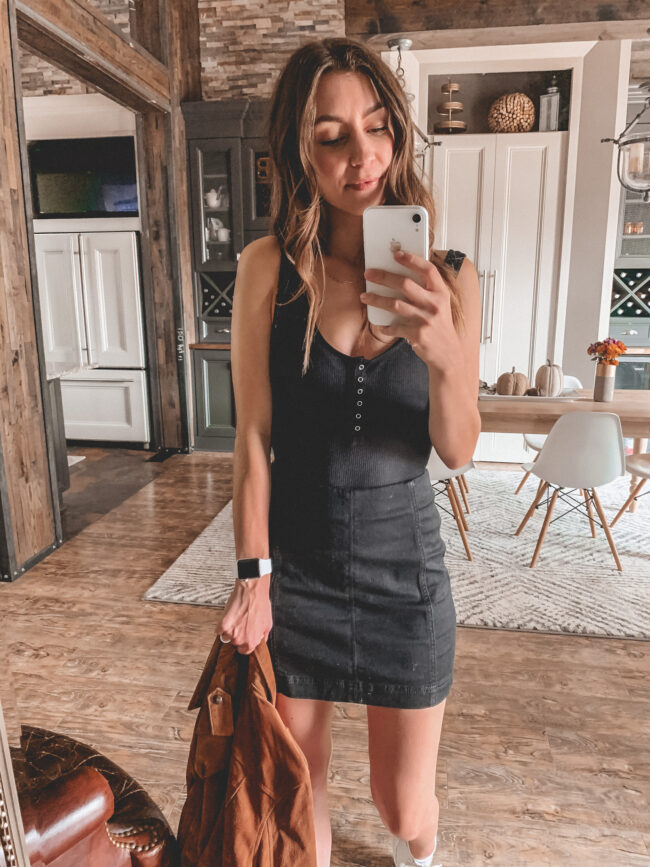 neutral fall outfit, black mini skirt and black bodysuit, tan suede jacket, try-on, fall outfits 2020